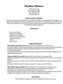 Pediatric Onology Sle Resume by Professional Oncology Resume Templates To Showcase