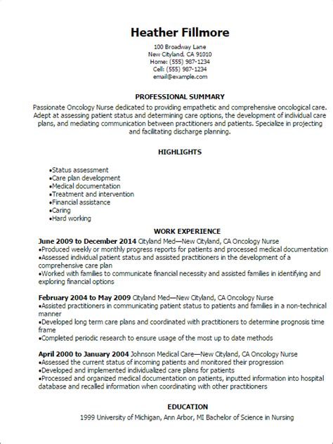 Resume Oncology Professional Oncology Resume Templates To Showcase Your Talent Myperfectresume
