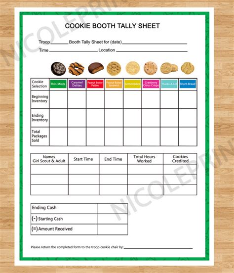 Scout Cookie Tracking Spreadsheet by Cookie Booth Tally Sheet By Nicoleprints On Etsy