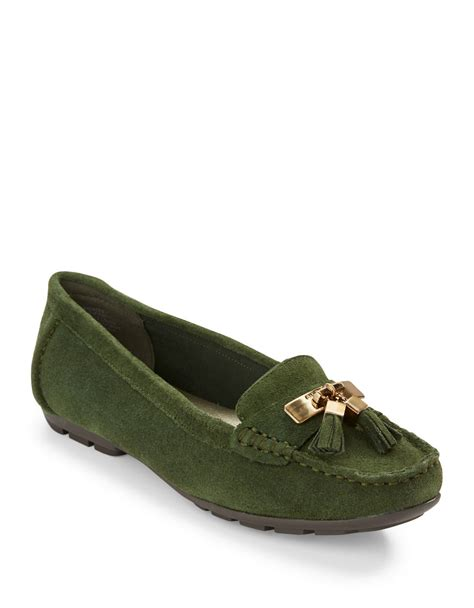 green loafers klein oates leather loafers in green green lyst