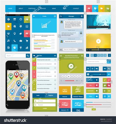 layout site app flat icons ui web elements mobile stock vector 154209947