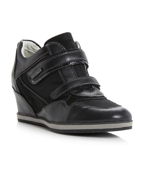 geox illusion wedge velcro trainer shoes in black black