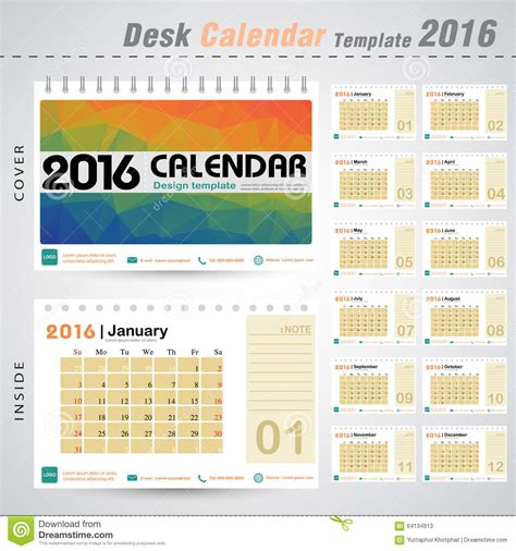 design table calendar 2016 desk calendar 2016 vector design template with colorful