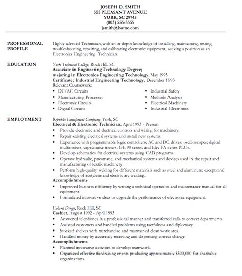 Resume Template Electronics Technician styles free sle resume for electronics technician