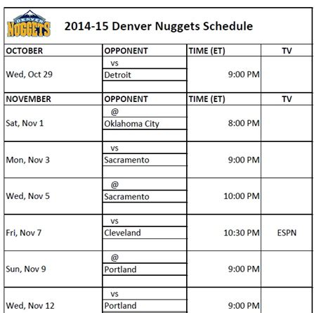 printable uk basketball schedule 2015 printable denver nuggets schedule new calendar template site