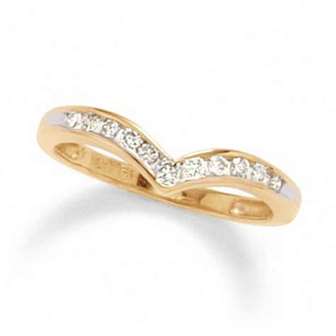 Chevron E Gift Card - 1 4 ct t w diamond chevron channel band in 10k gold round wedding zales