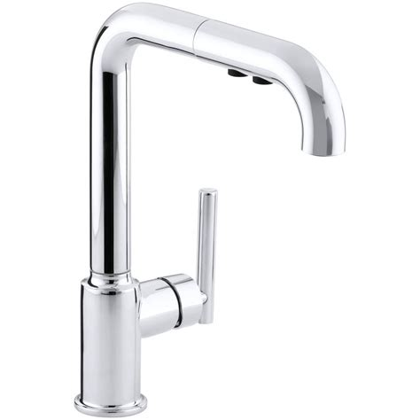 kohler purist kitchen faucet kohler purist single handle pull out sprayer kitchen faucet in polished chrome k 7505 cp the