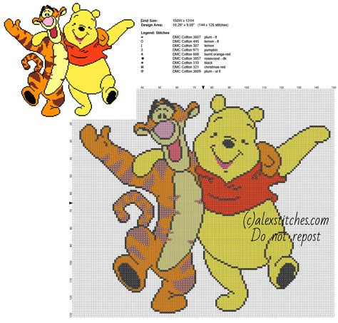 126 Best Images About Winnie The Pooh On Disney Rabbit Costume And Christopher Winnie The Pooh And Tigger Friends Free Cross Stitch Pattern 144 X 126 Stitches 9 Dmc Threads