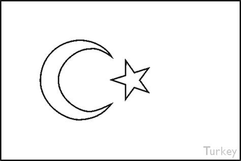 Colouring Book Of Flags Southern Europe Turkey Flag Coloring Page