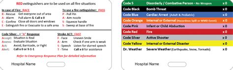 hospital codes by color hospital badge emergency codes custom card co