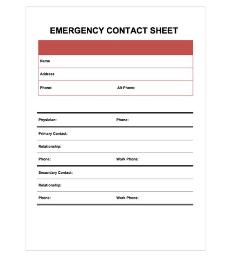 Emergency Contact Information Card Template by 5 Best Images Of Printable Emergency Contact Form Template