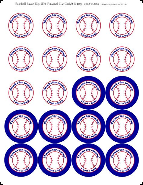 printable labels party favors cap creations printable baseball party favor thank you tags