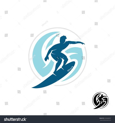 surf logo man silhouette board sea stock vector 326668457
