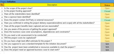 project management checklist excel template free