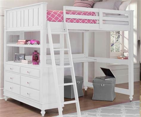 full size loft bed  desk white lakehouse