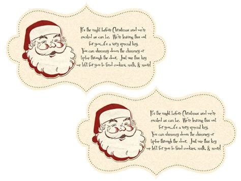 printable santa key template pin by beautiful paper crafts on happy christmas pinterest