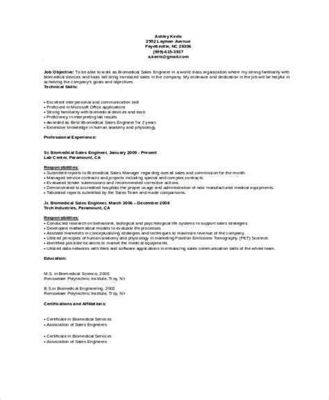 biomedical engineering resume sles 10 biomedical engineer resume templates sle templates