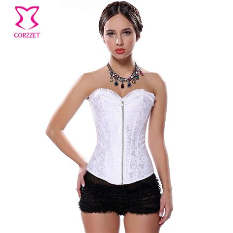 corset si鑒e zip steel boned white bridal corset wedding