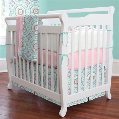 mini crib bedding sets aqua haute baby 3 piece mini crib bedding set carousel