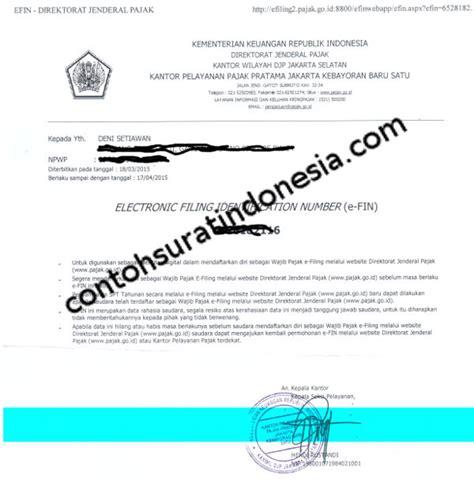 contoh surat efin pajak untuk pendaftaran efilling spt