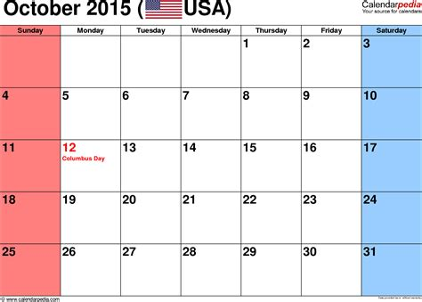 Calendar October 2015 October 2015 Calendars For Word Excel Pdf