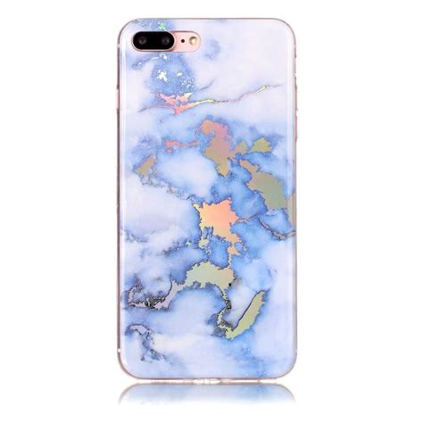 Marble Softcase For Iphone 4566 for iphone 8 plus 7 plus blue gold marble pattern soft protective back cover alex nld