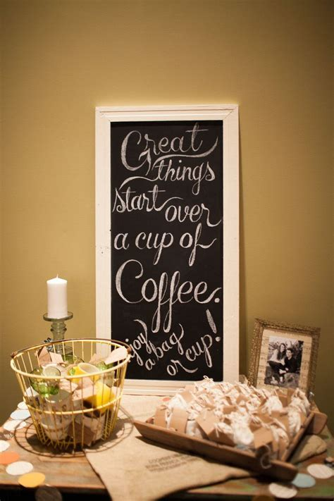 Coffee cup & bags of coffee for favors.   Ashley's Bridal