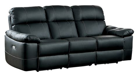 Black Leather Reclining Sofa Homelegance Nicasio Power Reclining Sofa Black Leather 8223bk 3pw At Homelement
