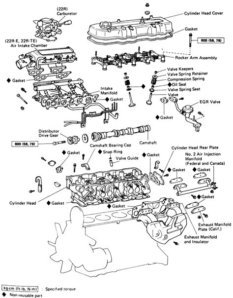 22re engine diagram toyota engine 22re exploded view