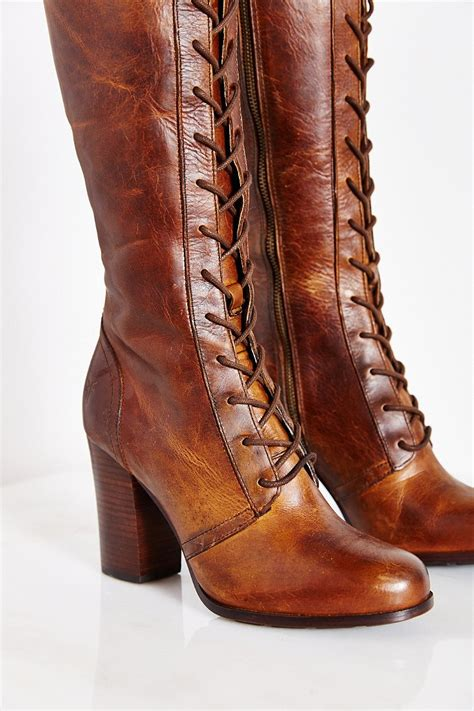 s boots with laces lyst frye lace up boot in brown