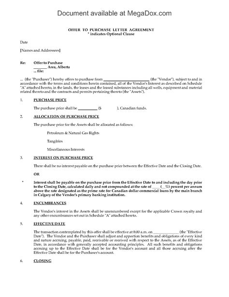 Alberta Offer To Purchase Interest In Crown Leases Legal Forms And Business Templates Purchase Price Allocation Template