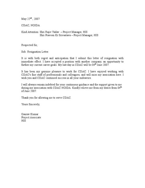 Immediate Resignation Letter For New resignation letter format resignation letter for immediate relieving resignation letter