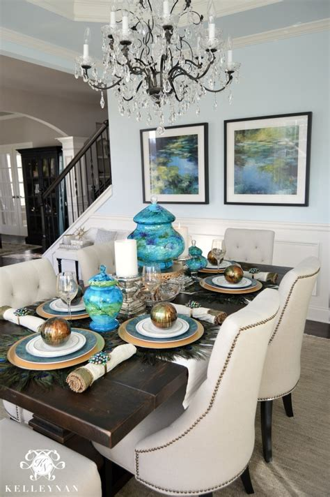 Peacock Dining Room by Peacock Inspired Dining Room And Tablescape Kelley Nan