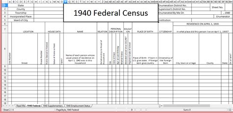 genealogy spreadsheet template the 1940 census template files for free