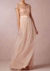 Long champagne tulle lace bodice cap sleeves a line bridesmaid dress