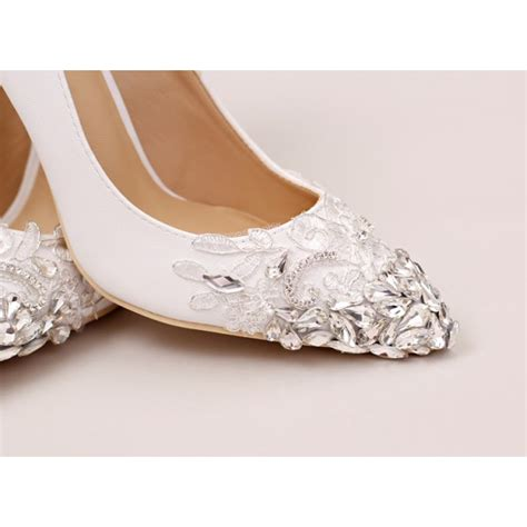 White Bridal Heels by White Bridal Heels Rhinestone Satin Pointy Toe Lace Pumps