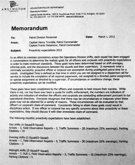 Memo Format Citation Wusa 9 Memo Reveals Acpd Ticket Quota Arlnow