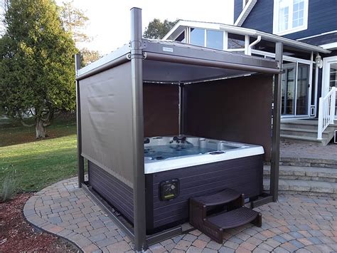Backyard Spa Cover by Beautiful Install Open With Sides Covana Tub