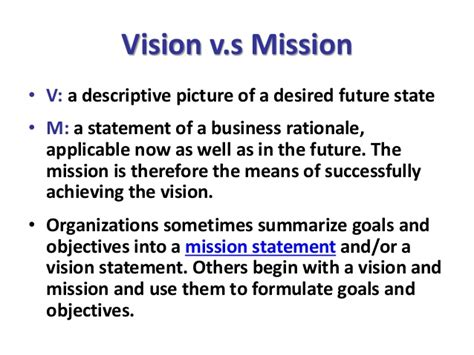 mission statement vs objectives vision mission goal objective
