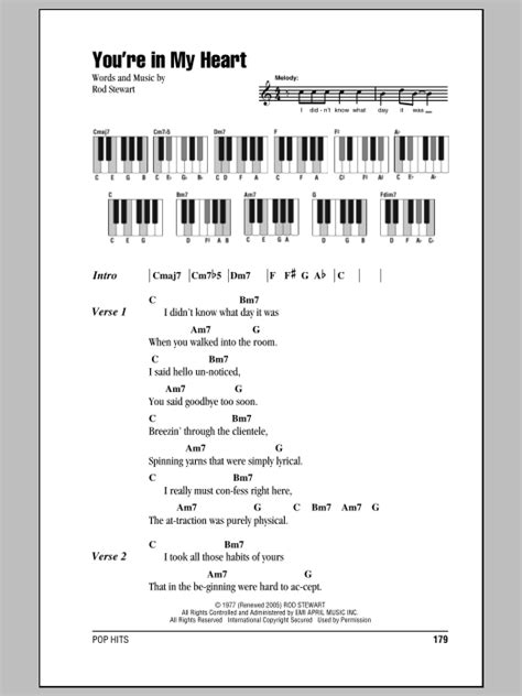 my lyrics with piano chords you re in my sheet by rod stewart lyrics
