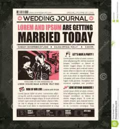 newspaper invitation template newspaper wedding invitation design template stock vector