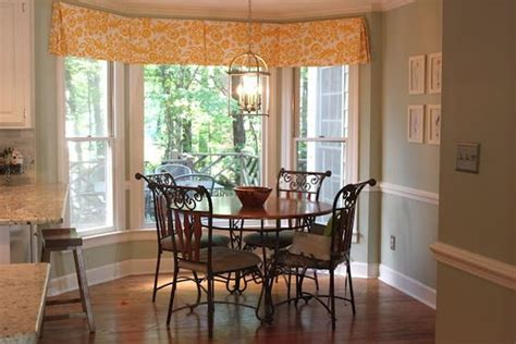 box bay window treatments box pleat valance in breakfast nook with bay window