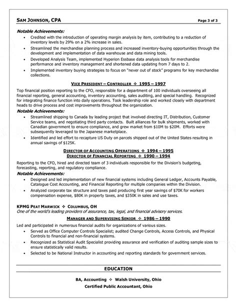 Resume Summary Exles Cfo Financial Executive Cfo Resume