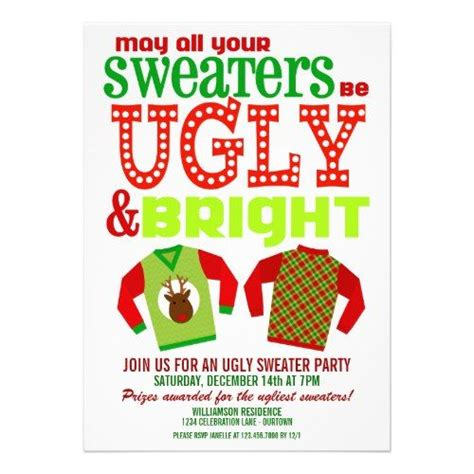 ugly christmas sweater party invitations holiday and