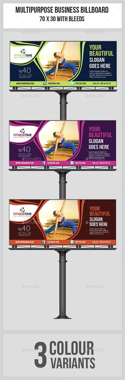 fitness billboard template design signage and photoshop