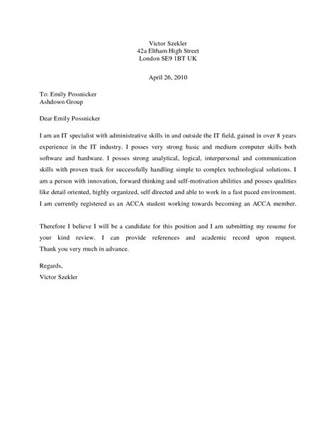 cover letter template uk cover letter exle