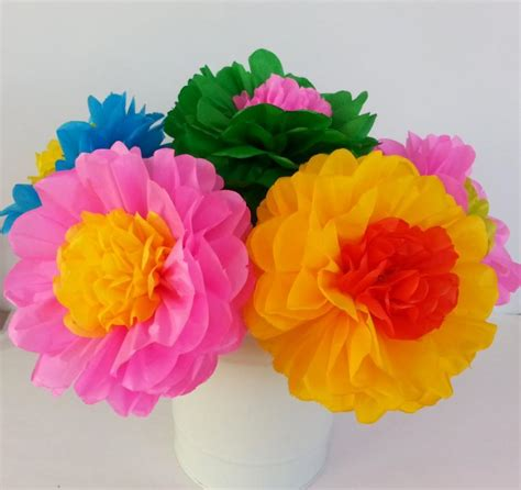 How To Make Mexican Decorations With Tissue Paper - tissue paper flowers set of 10 flowers decor