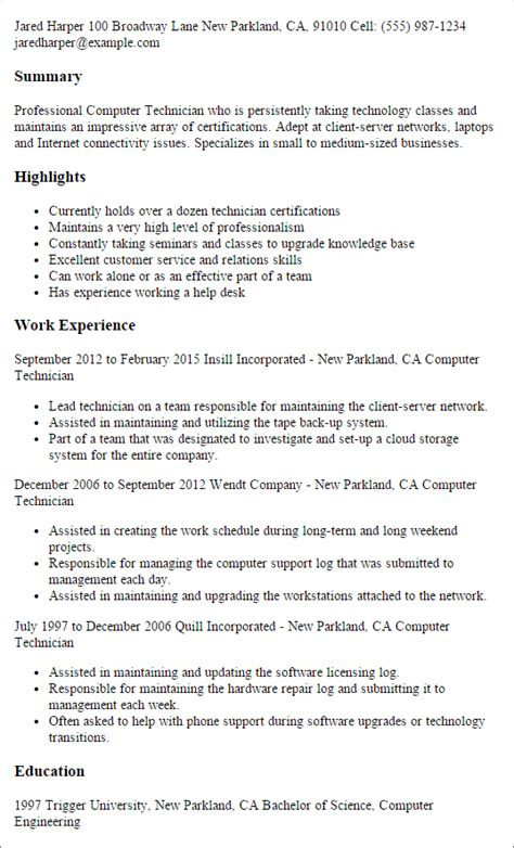 Computer Technician Resume Exle by Professional Computer Technician Templates To Showcase Your Talent Myperfectresume