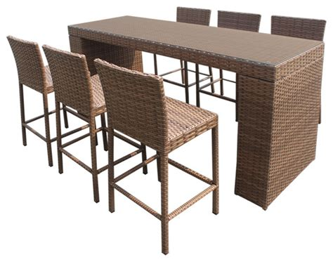 Patio Bar Table Set Tuscan Bar Table Set With Barstools 7 Outdoor Wicker Patio Furniture Tropical Outdoor