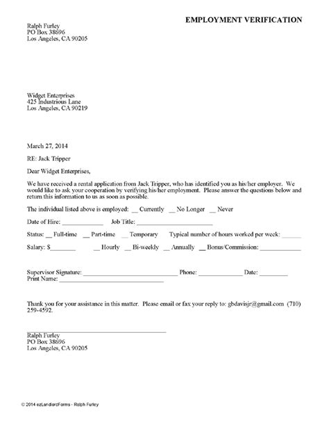 Rental Application Letter Of Employment Rental Verification Form Real Estate Forms